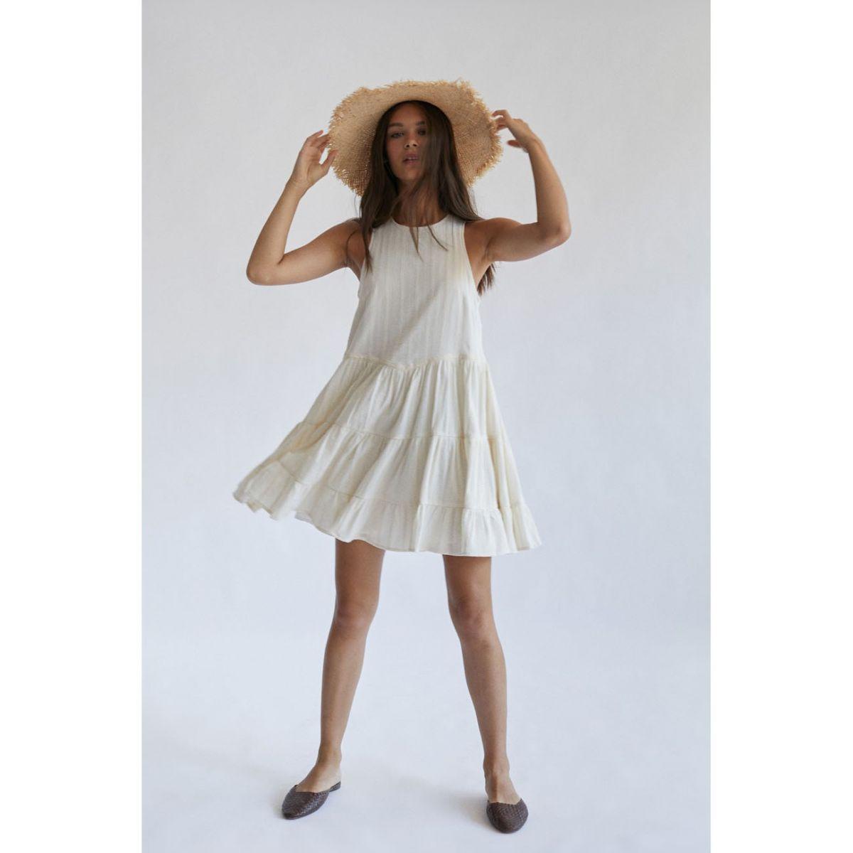 Vestido Santa Cruz, sin mangas. Off white